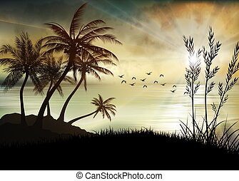 イラスト, 朝, 浜, 日の出