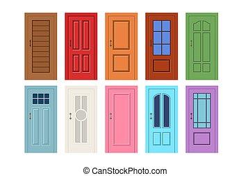 イラスト, 木製の戸, ベクトル
