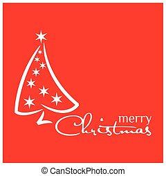 イラスト, 木, ベクトル, 背景, 白い クリスマス, 赤