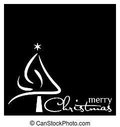 イラスト, 木, ベクトル, 黒い背景, 白い クリスマス
