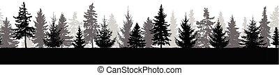 イラスト, 森林, ベクトル, シルエット, pattern., trees)., (fir, seamless