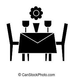 イラスト, 椅子, レストラン, 隔離された, 印, ベクトル, 黒い背景, アイコン, テーブル