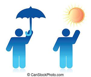 イラスト, 概念, 天候, デザイン