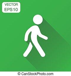 イラスト, 歩くこと, 概念, ビジネス 人々, pictogram., 歩きなさい, ベクトル, 緑, 長い間, 背景, icon., 印, shadow., 人