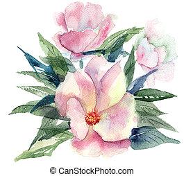 イラスト, 水彩画, 花, 定型, ピンク