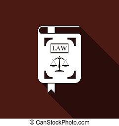 イラスト, 法令, アイコン, スケール, 正義, 隔離された, 平ら, shadow., ベクトル, 長い間, 法律書, design.