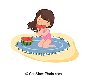 イラスト, 活動, 女の子, ホリデー, スイカ, 漫画, かわいい, 子供, ベクトル, 食べること, 夏, 浜