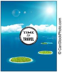 イラスト, 海景, 珊瑚, eps10., ベクトル, islands.