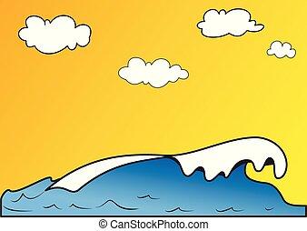 イラスト, 海, 波