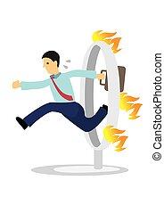 イラスト, 漫画, 跳躍, ベクトル, 上に, 燃焼, ビジネスマン, fire.