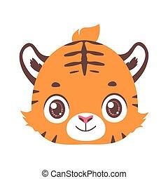 イラスト, 漫画, tiger, 肖像画, かわいい