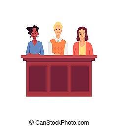 イラスト, 特徴, 人々, 裁判所, 平ら, ベクトル, 陪審, isolated., 裁判