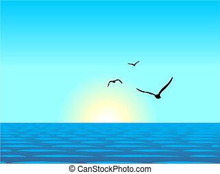 イラスト, 現実的, 海, 風景