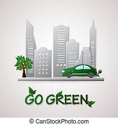 イラスト, 環境, デザイン, 行きなさい, 緑, template.