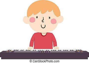 イラスト, 男の子, ピアノ, プレーしなさい, キーボード, 子供