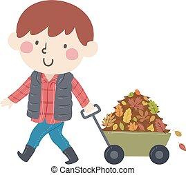 イラスト, 男の子, 集めなさい, 葉, 秋, 子供, ワゴン