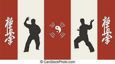 イラスト, 男性, かみ合った, 2, 空手, 背景, 赤