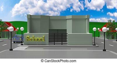 イラスト, 町, 背景, 通り, 家, 小さい, 3d, 学校