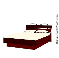 イラスト, 白い背景, 隔離された, ベッド
