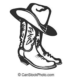 イラスト, 白, グラフィック, ベクトル, hat., 隔離された, カウボーイ, デザイン, ブーツ