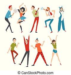 イラスト, 祝う, 幸せ, 若い人々, パーティー, ダンス, 持つこと, でき事, セット, 女性, ベクトル, 男性, 微笑, 楽しみ