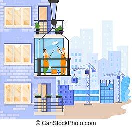 イラスト, 窓, バルコニー, 人々, ベクトル, 労働者, 外, 清掃, 建物