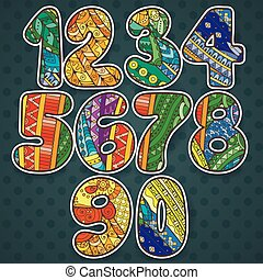 イラスト, 網, 要素, elements., tシャツ, いたずら書き, 他。, コレクション, booklets, デザイン, 織物, 缶, 使われた, ベクトル, 数, zentangle, 印刷, ありなさい, カード, set.