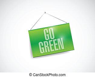 イラスト, 緑, 掛かること, 行きなさい, デザイン, 旗