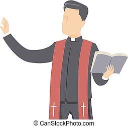 イラスト, 聖書, 人, 司祭, 説教しなさい