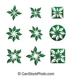 イラスト, 花, 葉, ベクトル