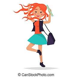 イラスト, 袋, 跳躍, 学生, redhead, 女の子