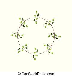 イラスト, 装飾用である, ツタ, 型, 緑, frames., ラウンド, wreath., 花, ベクトル