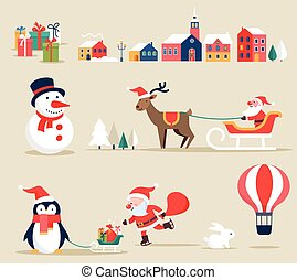 イラスト, 要素, アイコン, レトロ, クリスマス