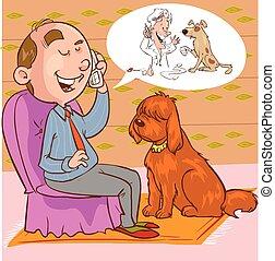 イラスト, 見る, 電話, ベクトル, 獣医, 人