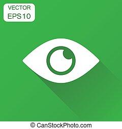 イラスト, 視力, 概念, 目, ビジネス, pictogram., ベクトル, 緑, 長い間, 背景, icon., shadow.