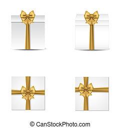 イラスト, 贈り物, コレクション, 現実的, 箱, ベクトル, bows., サテン, 赤