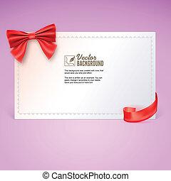 イラスト, 贈り物, bow., ベクトル, リボン, カード, 赤