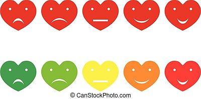 イラスト, 赤, 5, ベクトル, 心, 虹, 評価, emoji