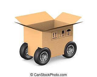 イラスト, 車輪, 3d, 白, 箱, 隔離された, 貨物, バックグラウンド。, 開いた
