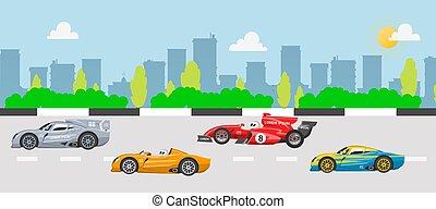 イラスト, 速い, 競争, レース, スポーツ, スピード, 道, 自動車, 都市, バックグラウンド。, cityscape., 再結集, 自動車, 建物, karting, ベクトル