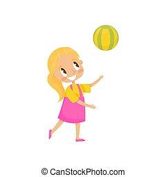 イラスト, 遊び, ベクトル, 運動場, 背景, 女の子, ボール, 白, 子供