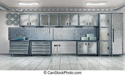 イラスト, 道具, cabinet., ガレージ, 金属, 3d