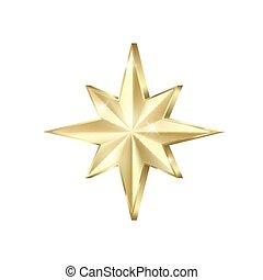 イラスト, 金, glitters., 光沢がある, sparkles., 隔離された, 星, 金, 四散しなさい, 白, ベクトル