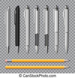 イラスト, 鉛筆, バックグラウンド。, 現実的, オフィス, 透明, pen., 隔離された, 黒, ペン, 文房具,...