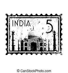 イラスト, 隔離された, インド, アイコン, ベクトル, 単一