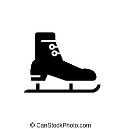 イラスト, 隔離された, 印, ベクトル, 黒い背景, スケート, アイコン, 競争