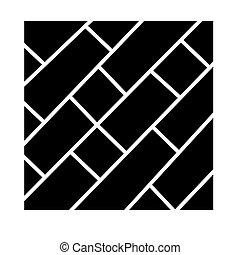 イラスト, 隔離された, 印, ベクトル, 黒い背景, 寄せ木張りの床, アイコン