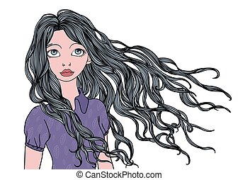 イラスト, 隔離された, 長い間, 若い, 振ること, ベクトル, white., hair., 肖像画, 女の子, 風
