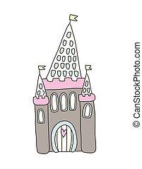 イラスト, 隔離された, castle., 物語, バックグラウンド。, ベクトル, 白, 妖精