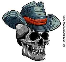 イラスト, 頭骨, ベクトル, カウボーイ帽子